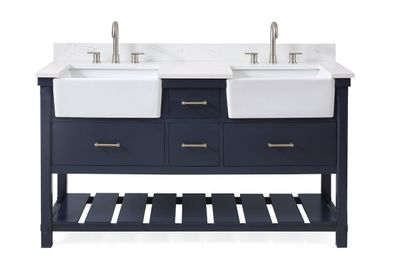 """60 inch Double Sink Bathroom Vanity Navy Flue Finish with Farmhouse Sinks (60""""Wx22""""Dx35""""H) CQT7060NB"""