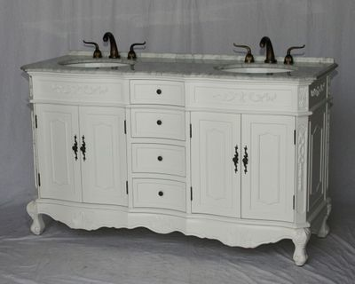 """60 inch Double Sink Bathroom Vanity White Color (60""""Wx21""""Dx37""""H) S190560WK FREE SHIPPING"""