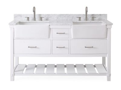 """60 inch Double Sink Bathroom Vanity White Farmhouse Sinks (60""""Wx22""""Dx35""""H) CGD7060WTRA"""