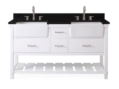 """60 inch Double Sink Bathroom Vanity White Farmhouse Sinks with Black Granite Top (60""""Wx22""""Dx35""""H) CGD7060WTGT"""