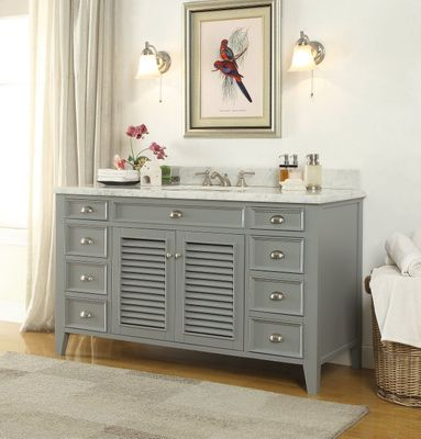 "60 inch Gray Bathroom Sink Vanity Italian Marble Carrara Countertop (60""Wx23""Dx35""H) C3028CK60S"