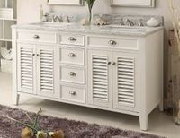 60 inch Double Sink White Bathroom Vanity Louvered Shutter Doors Carrara Marble Top CYR3028Q60D