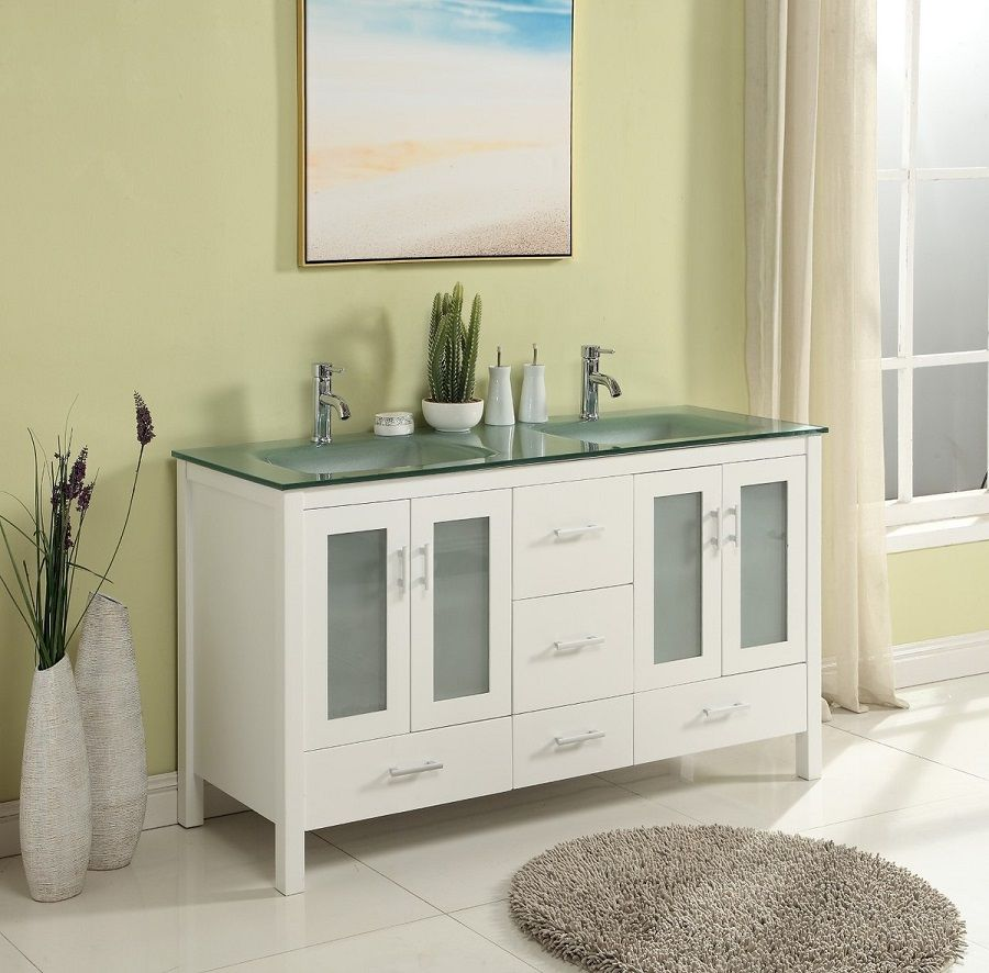 60 Inch Bathroom Vanity Glass Top Double Sink White Color Wx21 Dx34 H S2416w