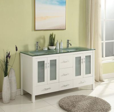 "60 inch Bathroom Vanity Glass Top Double Sink White Color (60""Wx21""Dx34""H) S2416W"