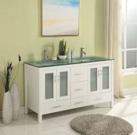 60 inch Bathroom Vanity Glass Top Double Sink White Color S2416W
