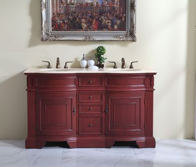"60 inch Double Sink Bathroom Vanity Cherry Color (60""Wx21""Dx35""H) S6060F FREE SHIPPING"