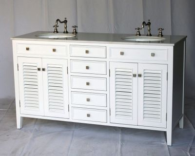 "60 inch Double Sink Bathroom Vanity Shutter Beach Style White (60""Wx21""Dx35""H) SN112860W"