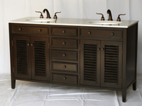 "60 inch Espresso Louvered Bathroom Vanity with Imperial White Color Stone Top (60""Wx21""Dx35""H) S112860B"