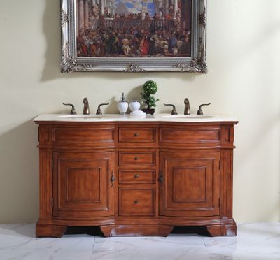"""60 inch Double Sink Bathroom Vanity Walnut Color (60""""Wx21""""Dx35""""H) S6060 FREE SHIPPING"""