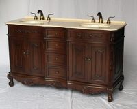 """60 inch Double Sink Bathroom Vanity Walnut Color (60""""Wx21""""Dx37""""H) S190560CHBE FREE SHIPPING"""