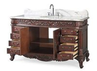 "60 inch Single Sink Bathroom Vanity Classic Style Rich Cherry Finish (60.5""Wx22.25""Dx35""H) CHF02W60"
