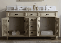 "60 inch Beige Bathroom Vanity Cottage Beach Style White Marble (60""Wx22""Dx34""H) CCF8832460W"