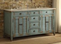"""60 inch Blue Bathroom Vanity Cottage Beach Style White Marble (60""""Wx22""""Dx34""""H) CCF8832360BUC"""