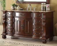 "60 inch Single Sink Bathroom Vanity 8 Drawers Medium Brown Color (60""Wx22""Dx36""H) CGD4437B60"