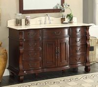"60 inch Single Sink Bathroom Vanity 8 Drawers Medium Brown Color (60""Wx22""Dx36""H) CF4437M60"
