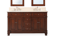 "60 inch Brown Bathroom Vanity Double Sink Cream Marble Top (60""Wx22""Dx36""H) CCF3048M60"