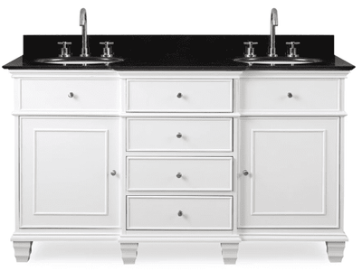 """60 inch Double Sink Bathroom Vanity American Transitional White (60""""Wx22""""Dx36""""H) CCF64601GT"""