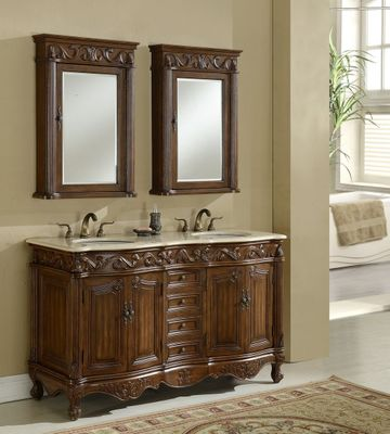 "60 inch Double Sink Bathroom Vanity Walnut Finish (60""Wx22""Dx37""H) S7760BE FREE SHIPPING"