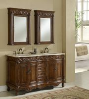 """60 inch Double Sink Bathroom Vanity Walnut Finish (60""""Wx22""""Dx37""""H) S7760BE FREE SHIPPING"""