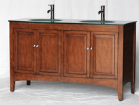 60 inch Bathroom Vanity Glass Top Double Sink Walnut finish SNK2237