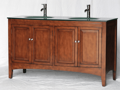 "60 inch Bathroom Vanity Glass Top Double Sink Walnut finish (60""Wx23""Dx35""H) S2237D"