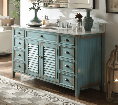 "60 inch Bathroom Vanity Louvered Shutter Doors Style Distressed Blue (60""Wx22""Dx34""H) CCF66323BU60C"