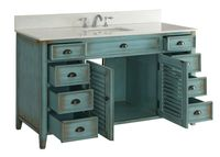 """60 inch Bathroom Vanity Louvered Shutter Doors Style Distressed Blue (60""""Wx22""""Dx34""""H) CCF66323BU60C"""