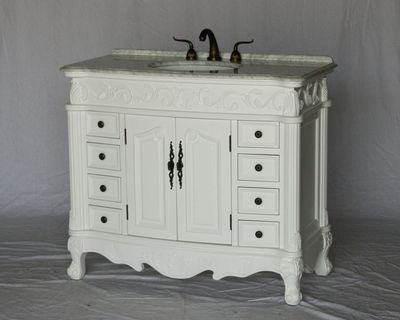 """42 inch White Color Bathroom Vanity With Carrara marble Top (42""""Wx20""""Dx37""""H) S316942WK"""