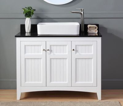 """42 inch Bathroom Vanity Cottage Beach Style White Color (42'Wx20""""Dx33""""H) CGD77888GTC"""