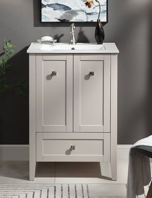 """25 inch Bathroom Vanity Small Modern Style Taupe Color (24.2""""Wx18.6""""Dx34.9""""H) CWFS85053TP"""