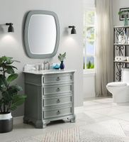 """32 inch Bathroom Vanity 3 Drawers Coastal Cottage Beach Style Gray Color (32""""Wx21""""Dx36.5""""H) CGD2033CKC"""