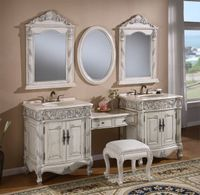 """86 inch Single Sink Bathroom Vanity Set Including Makeup Table and 3 Matching Mirrors Antique White Color (86""""Wx22""""Dx36""""H) S7530"""