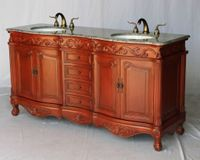 """68 inch Bathroom Vanity Double Sink Antique Style Cherry (68""""W x 22""""D x 36""""H) S291768GY"""
