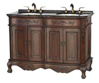 """50 inch Double Sink Bathroom Vanity Walnut Finish Coral Brown Color Granite Top (50""""Wx20.5""""Dx36""""H) S5000BN FREE SHIPPING"""
