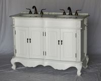 """50 inch Double Sink Bathroom Vanity White Finish Carrara Marble Countertop (50""""Wx20.5""""Dx36""""H) S5000WK FREE SHIPPING"""