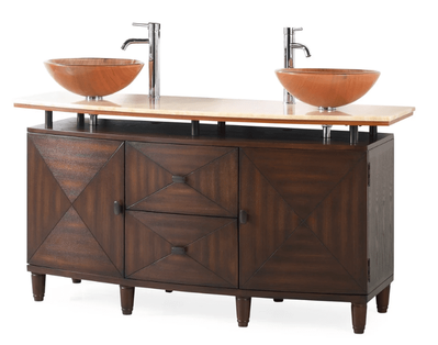 "63 inch Bathroom Vanity Double Vessel Sink Top Style Brown Color (62.5""Wx20.5""Dx33""H) DCQ136D"