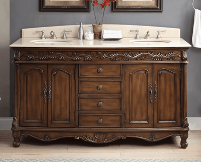 "62.5 inch Double Sink Bathroom Vanity Rich Walnut Finish (62.5""Wx23""Dx36""H) CHF036XLMTK"
