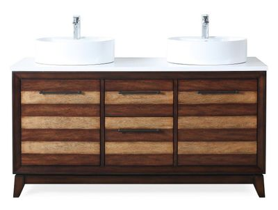 """63 inch Double Sink Bathroom Vanity Light Brown Finish with Quartz Top (63""""Wx21""""Dx33""""H) CTB9455V63"""