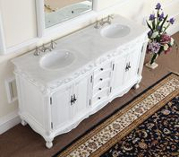 "64 inch Double Sink Bathroom Vanity White (64""Wx22""Dx36""H) CF3882WAW64"