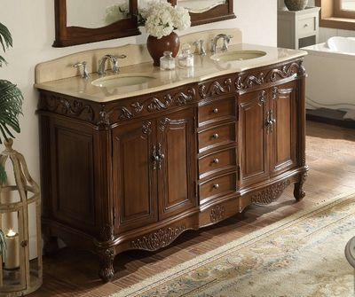 "64 inch Double Sink Bathroom Vanity Traditional Medium Brown (64""Wx22""Dx36""H) CCF3882MTK64"