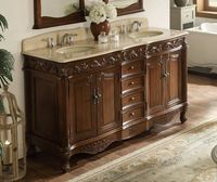 "64 inch Double Sink Bathroom Vanity Traditional Medium Brown (64""Wx22""Dx36""H) DCCF3882MTK64"