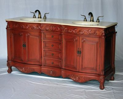 "68 inch Bathroom Vanity Double Sink Antique Style Cherry Wood (68""W x 22""D x 36""H) S291768BE"