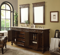 "72 inch Double Sink Bathroom Vanity Classic Style Medium Brown (72""Wx22""Dx36""H) DCF3882MTK72"