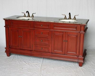 """72 inch Double Sink Bathroom Vanity Cherry Color (72""""Wx22""""Dx36""""H) S2503505GY"""