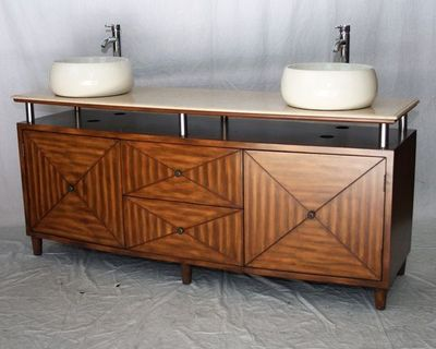 "72 inch Bathroom Vanity Double Vessel Sink Style Brown Color (72""Wx21""Dx32""H) S2252L"