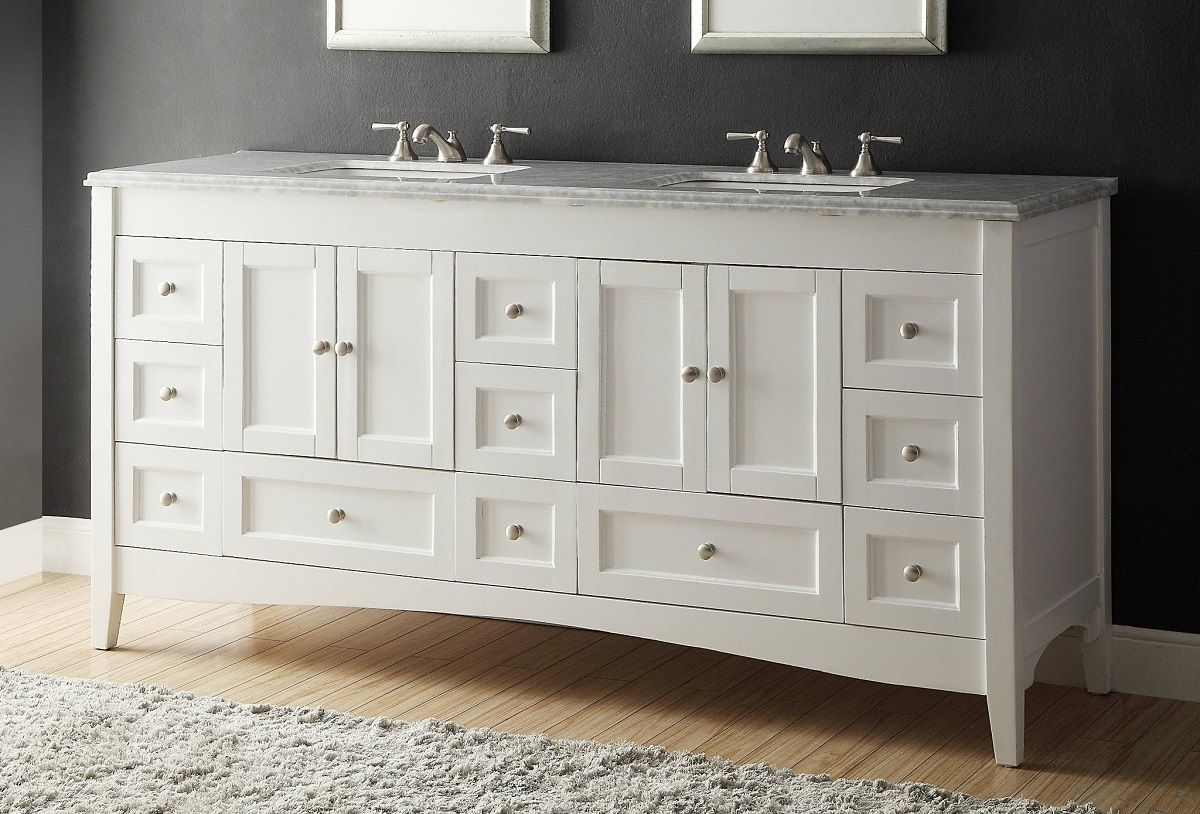 72 Inch Bathroom Vanity Double Sink Shaker Style White Color 72 Wx22 Dx34 H Chf1086