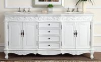 "72 inch Double Sink Bathroom Vanity Antique White Color (72""Wx22""Dx36""H) CCF3882WAW72"