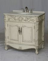 "36 inch Bathroom Vanity Antique White Color Imperial White Stone Top (36""Wx22""Dx37""H) S7636"