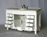 """54 inch White Bathroom Vanity Imperial White Color Stone Top S3169MWT (54""""W x 20.5""""D x 36""""H ) FREE SHIPPING"""