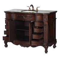 """48 inch Antique Style Bathroom Vanity Walnut Finish (48""""Wx22""""Dx36""""H) S2815BN FREE SHIPPING"""